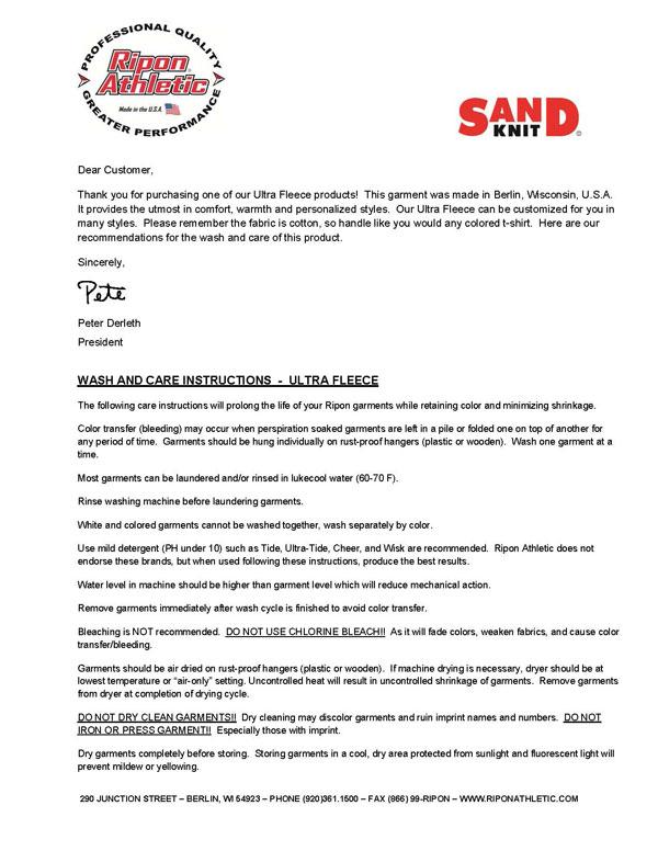 Ripon Athletic Laundry Instructions